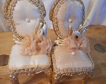 2 Dollhouse SATIN SLIPPER CHAIRS Champagne Fabric Gold Braid Organdy Ribbons White Beads, Handmade Vintage Shelf Sitters Matched Pair