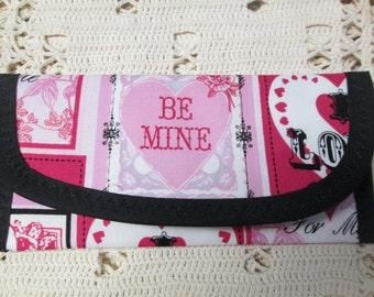 Happy Valentine Love Words Fabric, Wallet Money clip Bags & Purse 7 x 3 Be Mine, True Love, I Love You Envelope Clutch, Women Girls