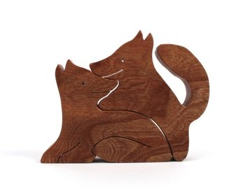 Wood Fox Pair, Wooden Animals, Two Piece Fox Woodland Decoration, Fox Figurines, Valentine's Day, Cherry