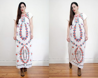Vintage 70s Floral Cotton White Mexican Dress Embroidered Oaxaca Maxi Dress Sz S M