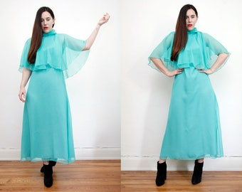 Vintage Cape Bohemian Caftan Kaftan Dress Angel Wing Maxi Dress