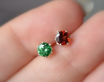Mismatched Stud Earrings, Christmas Jewelry, Genuine Garnet Gemstone, Bright Green Cubic Zirconia, Sterling Silver, Free Shipping