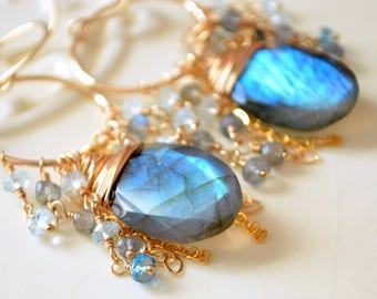 Labradorite Earrings, London Blue Topaz, Wire Wrapped, December Birthstone, Real Gemstone, Gold Filled, Boho Jewelry, Free Shipping