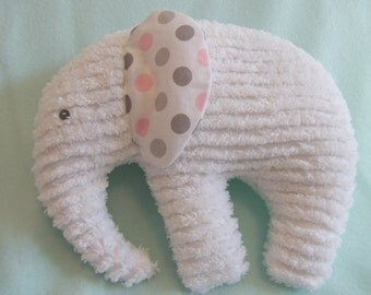 Elephant Plushie, White Chenille, ears are White with Pink and two shades of Grey dots