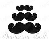 Mustache Solid Fill Machine Embroidery Design Digital File 2x2 3x3 4x4 INSTANT DOWNLOAD