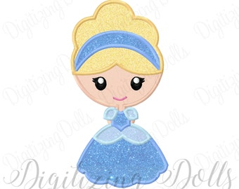 Princess Cinderella Applique Machine Embroidery Design 4x4 5x7 6x10 INSTANT DOWNLOAD