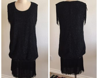 Vintage Black Flapper Fringe Dress - Size Small/Medium - Drop Waist - Sequin