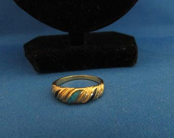 Lapis Lazuli and Turquoise Gold Tone Ring