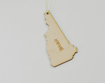 Natural Wood HOME New Hampshire State Ornament