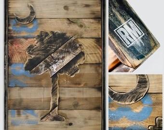 Natural Finish Reclaimed Wood South Carolina Flag Art