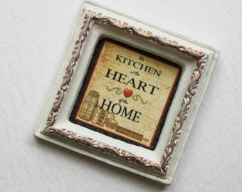 Miniature Framed Kitchen is the Heart of the Home Wall Decor 1:12 Scale