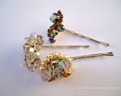 Vintage earrings hair clips - Sparkly jewel gem crystals pearl silver aurora borealis AB ornate embellish fancy decorative hair accessories