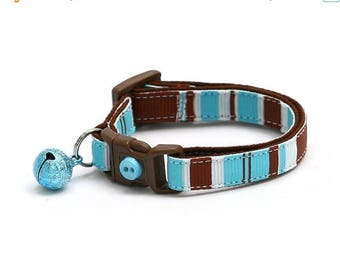ON SALE Striped Cat Collar - Brown, Blue, and White Stripes - Small Cat / Kitten Size or Large Size
