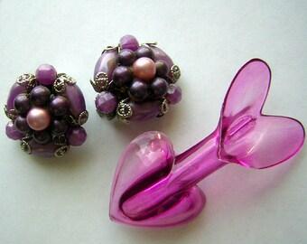 Vintage Purple Valentine Earrings & Heart Pin - Destash but Fun CLEARANCE