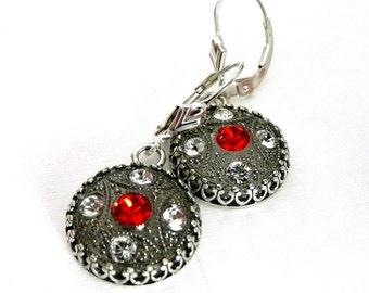 Glass Button Earrings