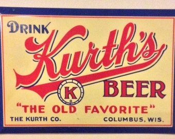 Vintage Early 1930s Post Prohibition Kurth Beer Original Mint Sign Columbus, Wisconsin Brewery