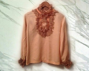 60s Peach Ruffled Front Mad Men Secretary Blouse size Small