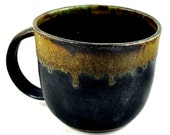 Coffee Cup Soup Mug Ceramic Handmade Pottery Matte Black Neutral Tones Tea or Hot Chocolate Cup with Generous Handle by Dawn Whitehand
