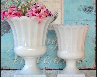 Vintage Milk Glass Planters / Milk Glass Wedding Centerpieces