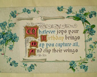 Birthday - 1910 - South Bend, Indiana & Longmeadow, Rhode Island - Antique American Postcard