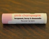 Pink Champagne lip balm - berry, chamomile and bergamot flavored lip balm - wine flavored lip balm - champagne lip balm