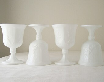 white milk glass goblet set of four embossed grapes and ivy colony harvest stemware mid century farmhouse chic glasses