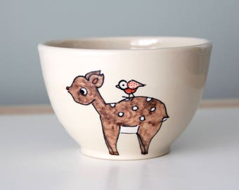 Deer and Bird Bowl Handmade Ceramic Cereal or Soup Bowl Illustrated pottery handmade ceramics