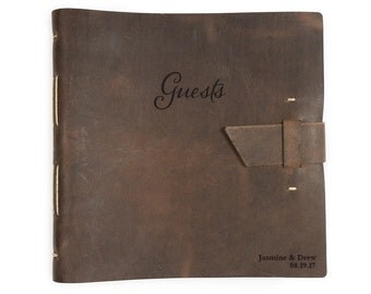 Leather wedding guest sign in book, Personalized wedding guest book, 10.5x10.5, Various colors (rbk0080)
