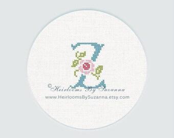 "Antique Rose Monogram, Machine Cross Stitch Initial, Floral Font, Machine Embroidery, Decorative Font, Block Letter ""Z"" - HBS-ROSEMNGR-Z"