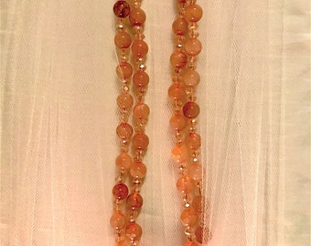 Single or double strand Pink Transparent Stone and Crystal Hand Beaded Necklace