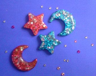 Kawaii sparkling moon star cabochon Deco diy charms. 4 pcs---USA seller