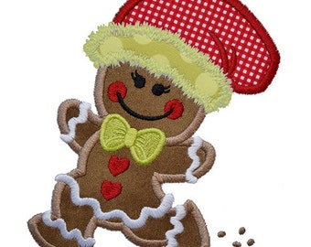 Running Gingerbread Girl Applique, 4x4, 5x7, & 6x10, shown with our Tuesday font NOT Included, INSTANT DOWNLOAD available