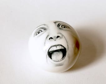Carpet Ball, Modern ,Screaming Face Carpet Ball, Wonky Carpet Ball That is hand made, Games in the House, Collectible Fine Art
