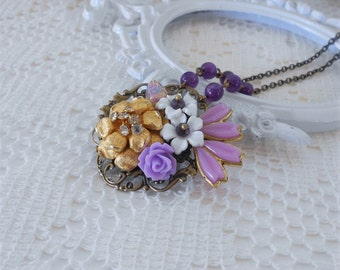 Amethyst Necklace, Purple Necklace, Floral Assemblage Jewelry, Upcycled Vintage, OOAK Necklace, Amethyst Gemstone Necklace