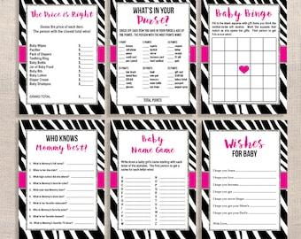 Zebra Baby Shower Games Package, Six Baby Girl Shower Games Bundle, Hot  Pink U0026
