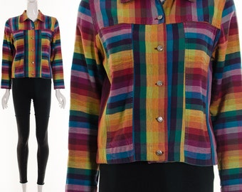 Rainbow Linen Jacket Ombre Multicolored RAINBOW Button Down Jacket Small Medium