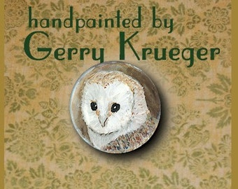 Hand painted    Button -  Barn Owl