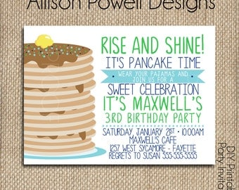 Pancake party invitation pancakes and pajama party boy pajamas and pancakes birthday invitation breakfast pajama birthday party invitation print your filmwisefo