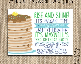 Boy Pajamas and Pancakes Birthday Invitation, Breakfast, Pajama Birthday Party Invitation - Print your own