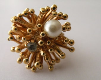 On Sale Faux pearl clear rhinestone gold plated ring. Adjustable