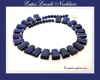 Lapis Lazuli and  Sterling Silver Statement Necklace, Genuine Gemstone, Bib Necklace, Collar Necklace