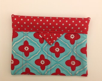 """Turquoise and Red Quilted Fabric Mini Snap Bag 6"""" x 5"""""""