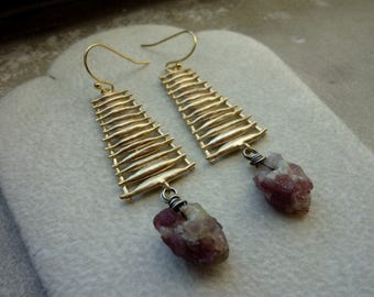 Raw Tourmaline Wire Wrapped In Sterling Silver With Ladder Earrings
