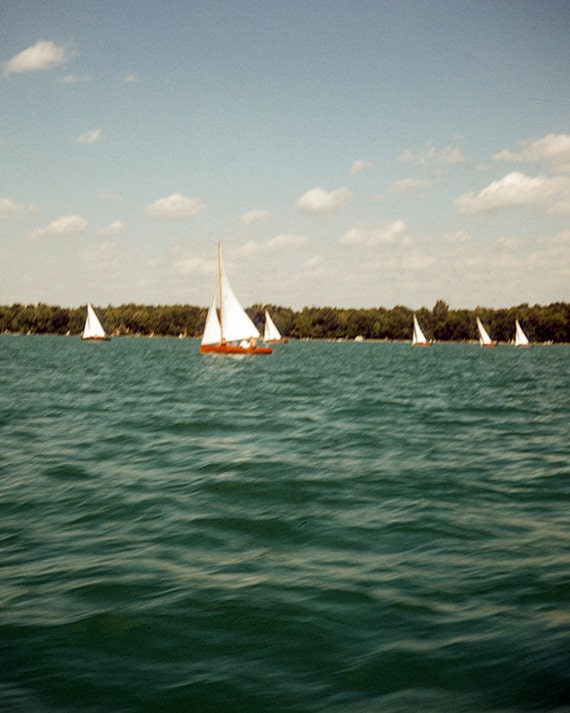 Vintage, Lake Scene, Sailing, Photography Print, 1960's, Kodachrome Colors, Wall Decor, Mid Century Modern, Art Print