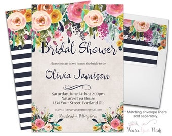 Engagement Party Invitation - Floral Engagement Invitation - Floral Engagement Invite - Floral Bridal Shower Invite - Floral Wedding Shower