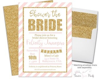 PINK and GOLD Bridal Shower Invitation - Bridal Shower Invite - Shower The Bride - Bridal Invitation - Bridal Invite - Bachelorette Party