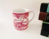 Spode Cranberry Mug, Winters Eve, Red Toile Transferware Mug, Holly Leaves, Christmas Mug