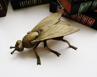 Hollywood Regency Fly Trinket Box, Italian Made Figural Box, Brass Fly, Coffee Table Decor, Farmhouse Chic