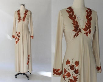 1970s Victor Costa Novelty Print Maxi Dress // 70s Vintage Cream Long Sleeve Empire Waist Dress // Small