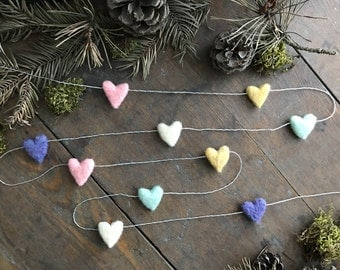 Felted wool heart garland, Unicorn Rainbow, on silver string, 6ft, Valentine's Day decoration, rainbow heart decor, felt hearts